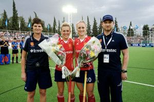 England's Alex Danson and Susie Gilbert both received flowers before the match to mark milestone appearances for England & GB; Danson earnin...