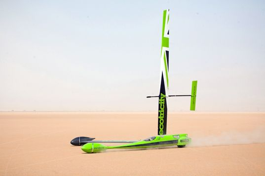 What would you expect the record speed for a wind powered vehicle to be? 30 miles per hour? 60 miles per hour? Try 126.1 miles per hour! That is the record set by Richard Jenkins this past weekend at the Ivenpah Lake in Nevada, where he finally managed to