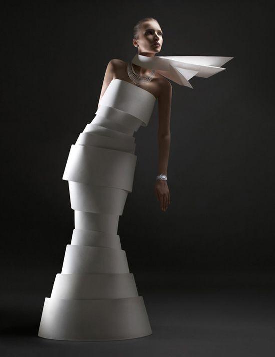 """Paper clothes, turning fashion into architectural research by Alexandra Zaharova & Ilya Plotnikov from Doberman studio for Fashion magazine l'Officiel"""