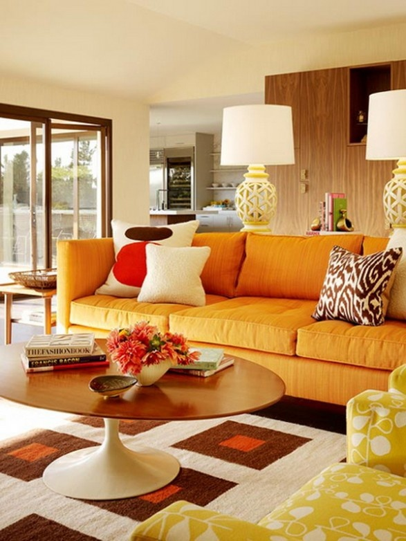 Retro Inspired Living Room With Orange Sofa By Designer Palmer Weiss Im Not A Fan Of The Rug But This Picture Makes Me Think Those Yellow Floral Bird