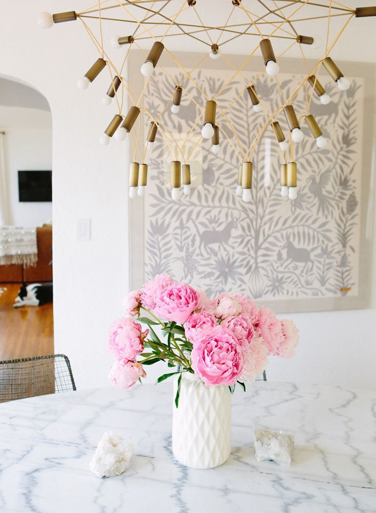 Dining Room Makeover via A House in the Hills with the most killer brass light fixture