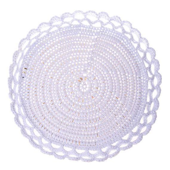 Light Crocheted Rug Floor Round Lamp Area Light by chrysanthimertz