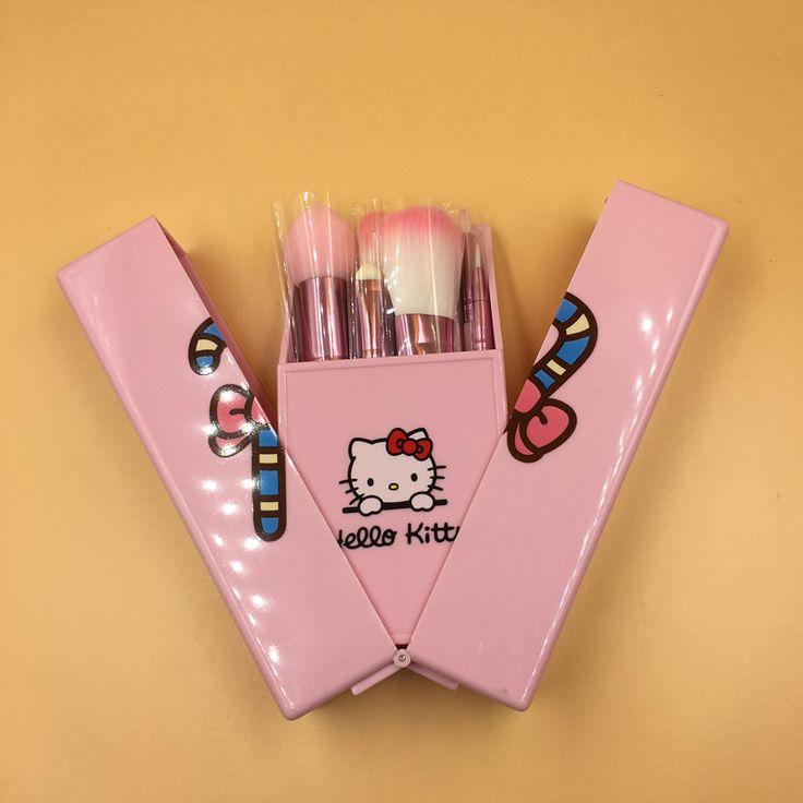 Teen Girls Cute Hello Kitty Makeup Brushes Set Pink Box 8pcs Make up Brush Set Makeup Tools Maquiagem