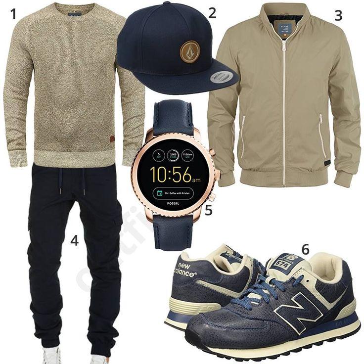Beige-Blauer Street-Style mit Cap und Smartwatch #MensFashionMenswear – adria peterson