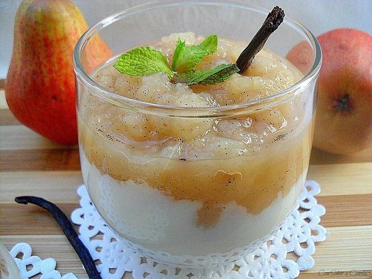 Compota de pera a la vainilla con yogur (sin azúcar)