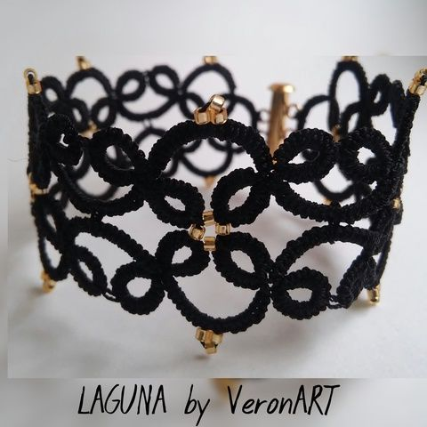 LAGUNA fekete hajócsipke karkötő arany gyöngyökkel, horgolt, Ékszer, óra, Esküvő, Karkötő, Esküvői ékszer, Meska