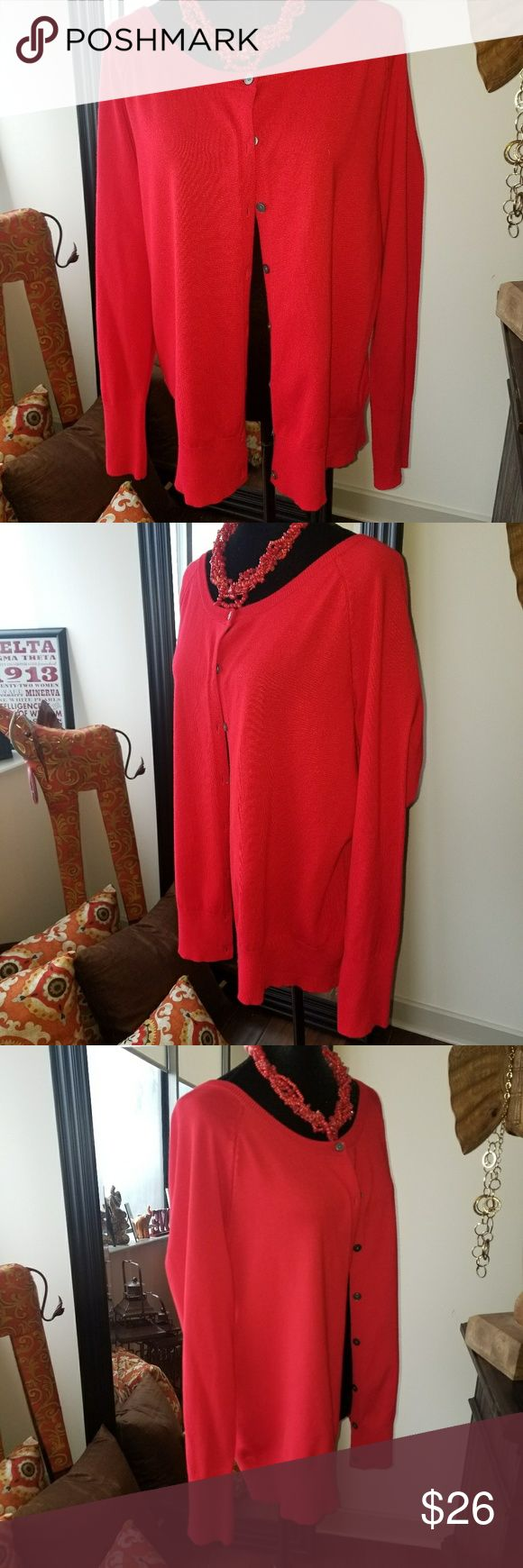 Red Cardigan Sweater A red cardigan sweater that is veru good condition. This sweater was just sitting in the closet collecting dust. Lane Bryant Sweaters Cardigans