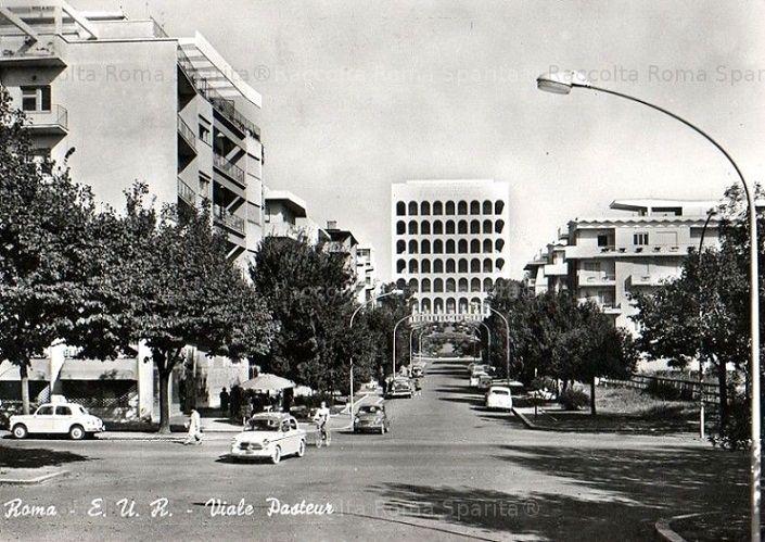 Foto storiche di Roma - EUR. Viale Pasteur Anno: cartolina viaggiata nel 1961