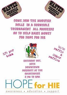 Enter The Modified Dolls - Arizona Chapter`s Cornhole #Tournament and help the AZ dolls to #fundraise for Hope for HIE Foundation - Hypoxic Ischemic Encephalopathy. #ModifiedDolls #AZdolls #NonProfit #fundraising #event #raffle #HIE
