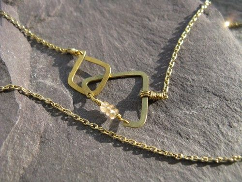 Minimal Geometric : silver brass copper jewellery - Elements, triangle and square interlock, geometric golden brass necklace,