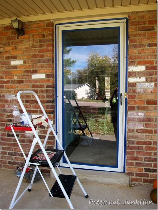 You can paint a metal framed storm door. Who wants a white framed glass door against a beautiful blue entry door? Not me.
