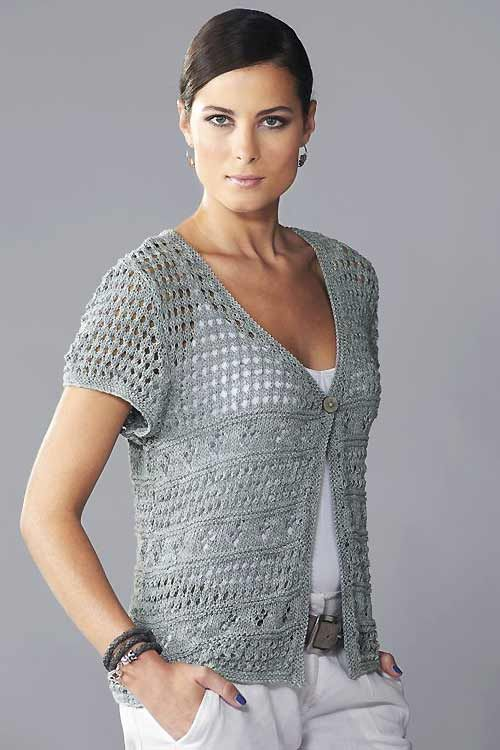 Knit a lacy cap-sleeved cardigan: free knitting pattern :: allaboutyou.com