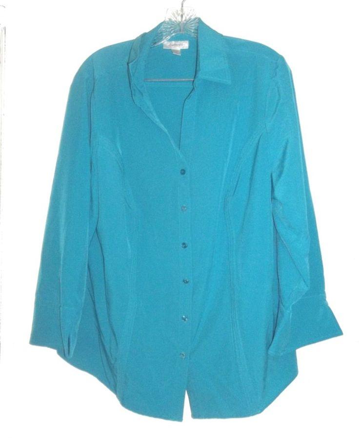 Dressbarn Dark Turquoise Shirt Polyester Blend Long Sleeve Shirt Plus Size 1X  #Dressbarn #ButtonDownShirt #Casual