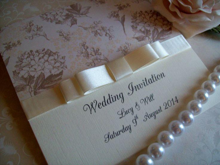 Taupe hydrangea and pale peach blossom wedding invitations