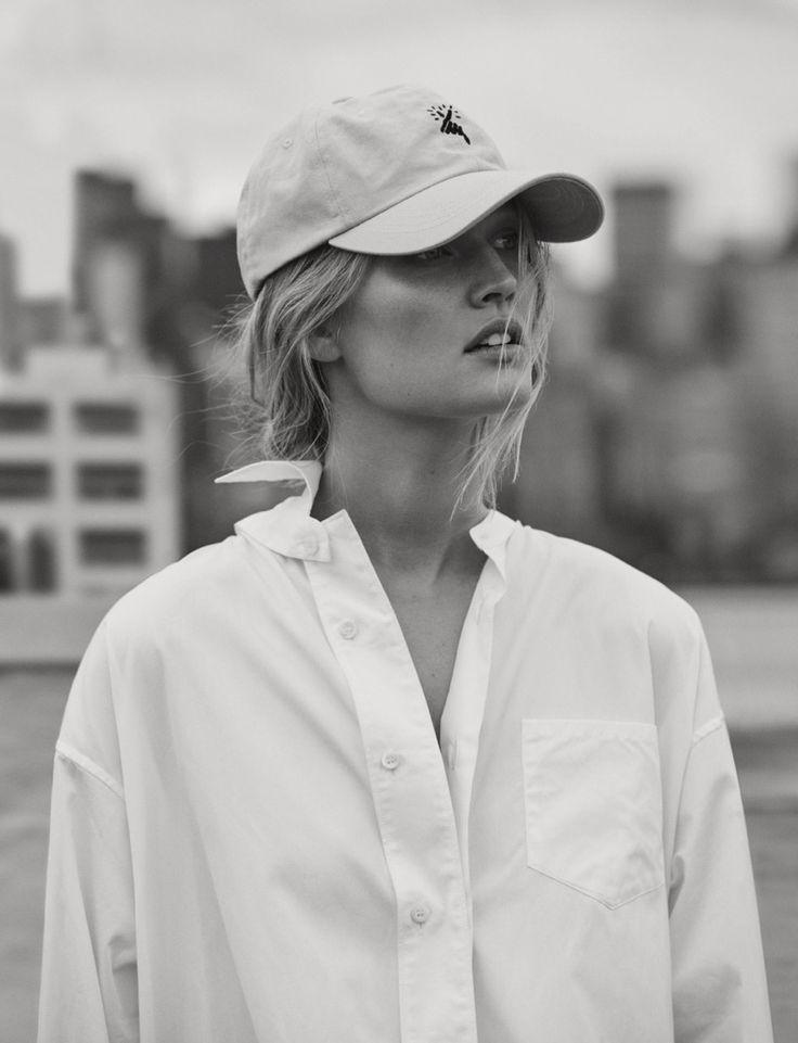 Model Toni Garrn wears menswear inspired looks for the editorial