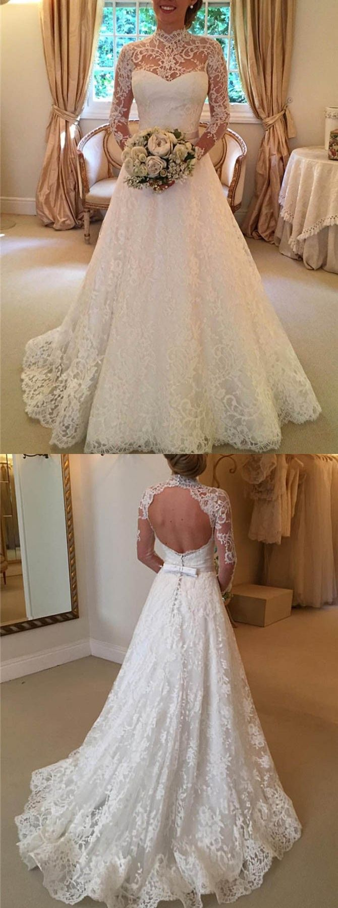 A-line Wedding Dress,Lace Wedding Dress,Open Back Wedding Dress,Long Sleeves Wedding Dress,Bow knot Wedding Dress,Wedding Dress,Long Trains Wedding Dress,Wedding Dresses,2017 Wedding Dress,2017 Wedding Dresses