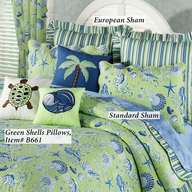 show off the beach theme of green shells quilts and bedding scalloped seashell quilt features a shell starfish sand dollar and coral print in navy