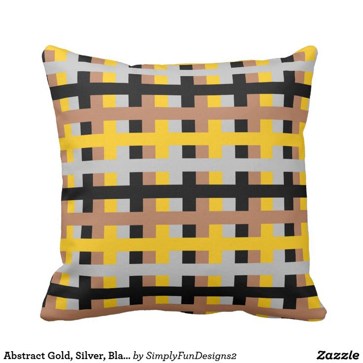 Abstract Gold, Silver, Black and Brown Throw Pillow #pillow #throwpillow #decorative #homedecor #interiordesign