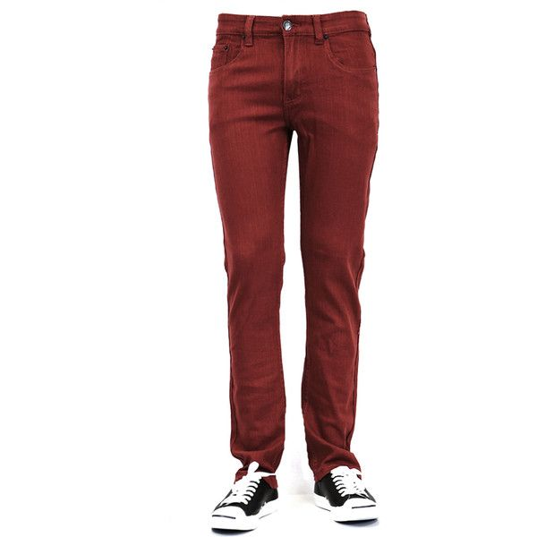 Bleu Evolution MEN'S PREMIUM SKINNY JEANS - BURGUNDY (£23) ❤ liked on Polyvore featuring men's fashion, men's clothing, men's jeans, burgundy, mens skinny fit jeans, mens burgundy jeans, mens jeans and mens skinny jeans