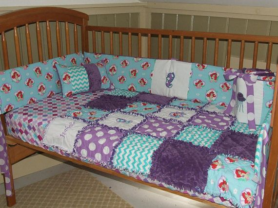 Custom Little Mermaid Minky Personalized 1-5 PC Baby Crib