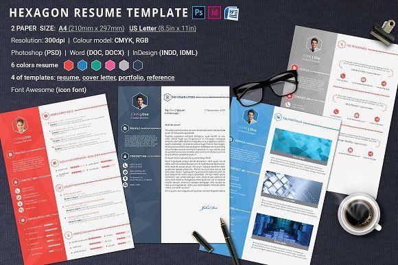 Resume Template Hexagon  @creativework247