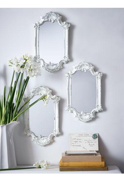 Three Antiqued White Mirrors