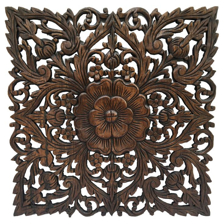 Oriental Hand Carved Wood Wall Plaques. Large Square