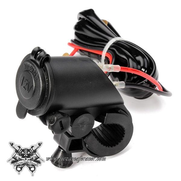 Cargador de Mechero Para Manillar Moto 22mm 25mm 12V-24V Color Negro -- 11,14€