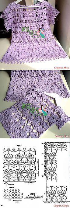 Blusa teste padrão chique.  Hook.  - Knitting + de moda para senhoras NEMODELNYH - Home Moms
