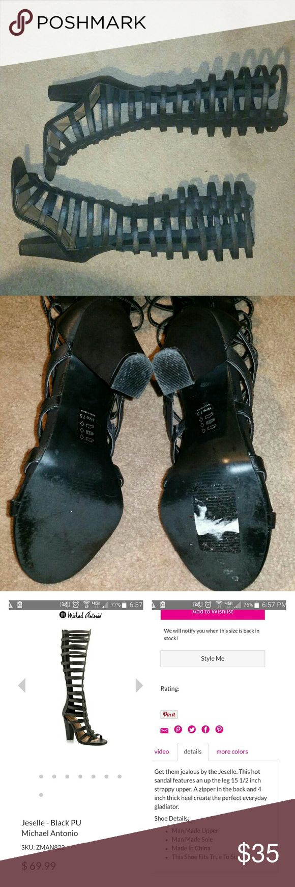 Strappy Gladiator Sandal Black sandal heels, with a zipper in the back. Size 7.5. I added a picture of the actual description. Just realized they have a scratch so im lowering the price. No Trades. Shoes Sandals