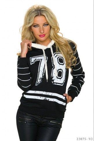 Αθλητική μπλούζα με κουκούλα - Μαύρο