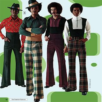 The bell bottom pants became popular in the late 60s and continued to widen into the 70s as they gained in popularity. This was a time where polyester became a popular fabric to use in clothing. Also bold colors and prints became part of men's fashion for the first time. We can see in the image the use of plaids and bold shades of purple and green.