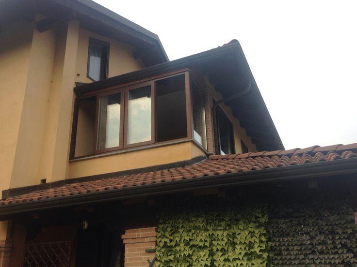 Veranda tinta legno noce in alluminio Taglio Termico