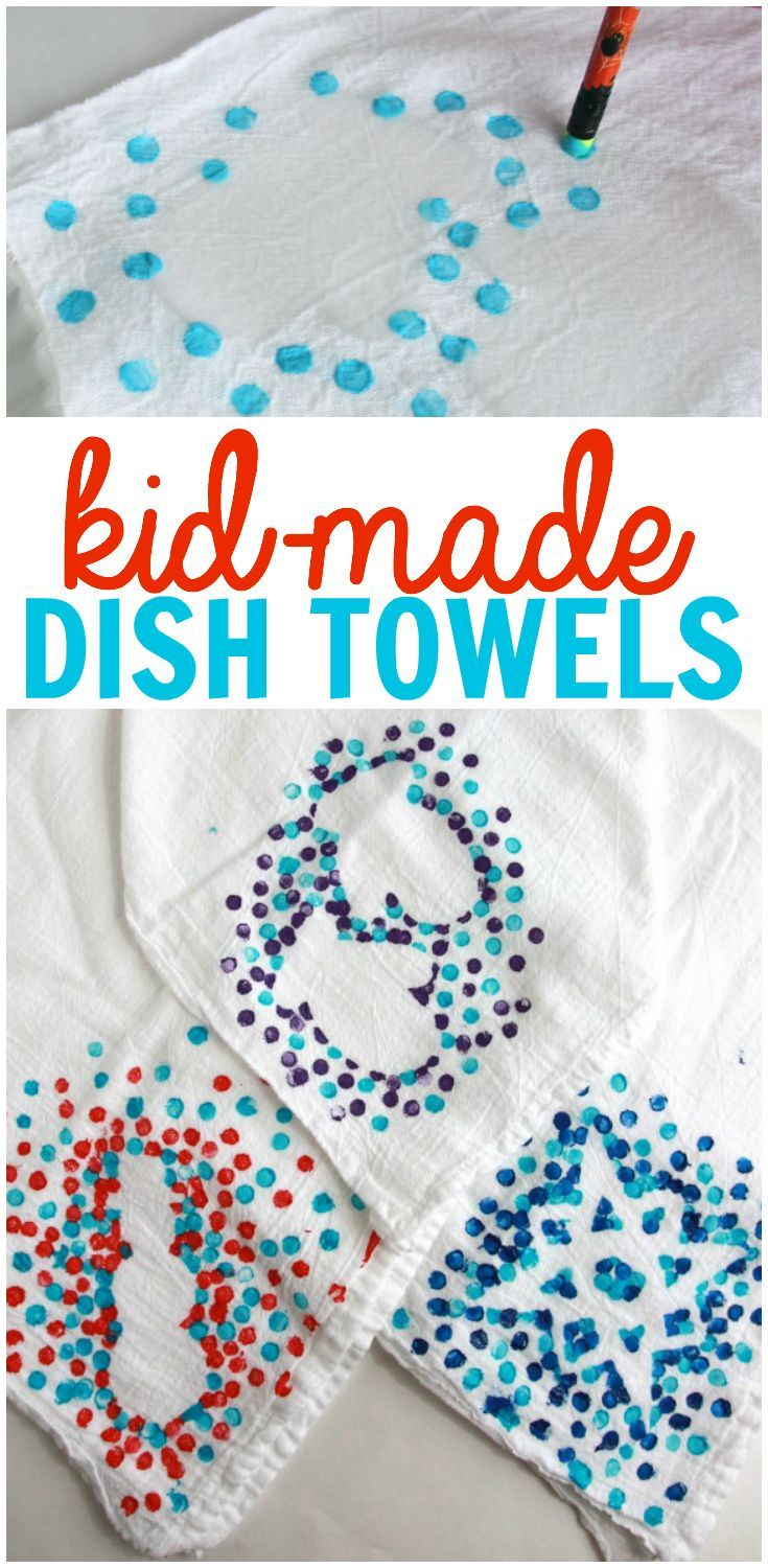 Kid-Made Dish Towels: Such a precious homemade gift that kids can make for the special people in their lives!