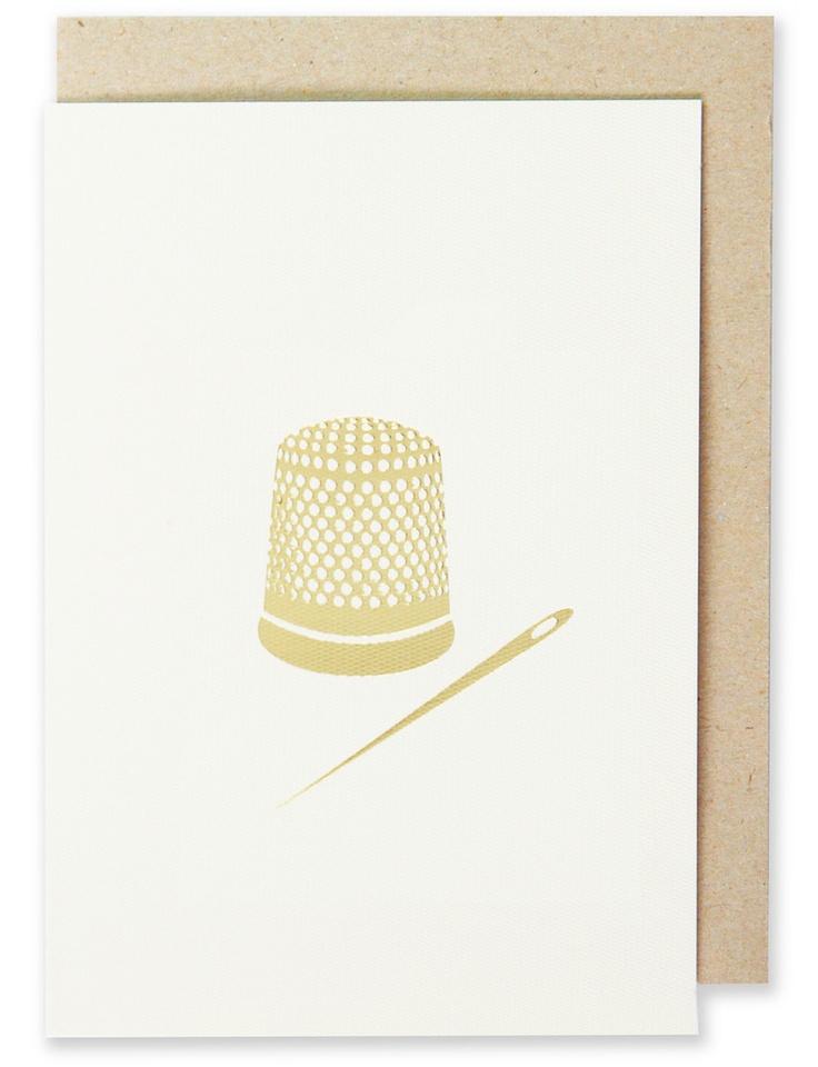 006 - Thimble Greeting Card Metallic Gold Foil, Blank Interior  www.splendourvendor.com