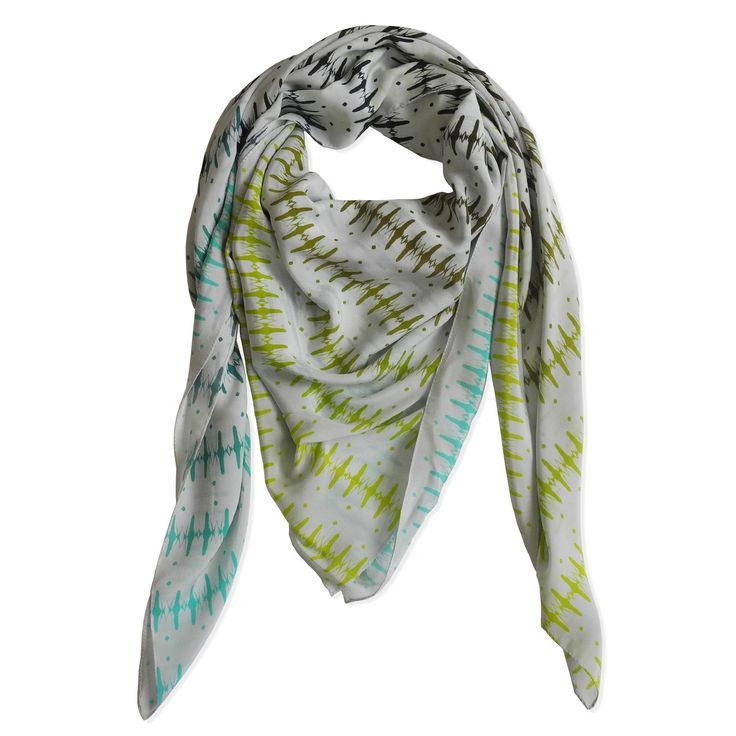 GRAPHIC TRIBAL SCARF - LT. GREY,  LIME, OLIVE, PETROLEOM