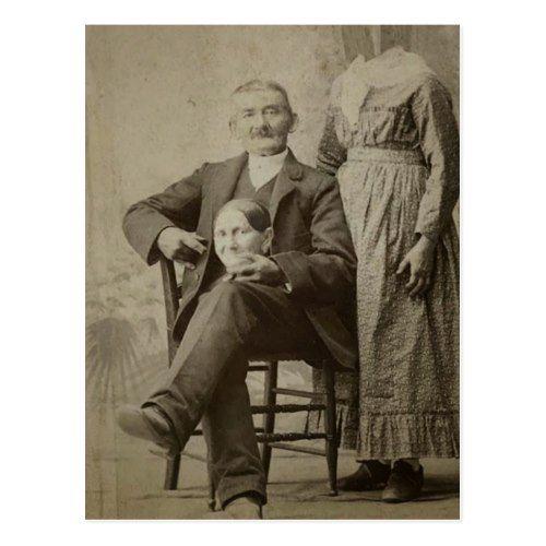 Vintager lustiger gruseliger Ehemann und kopflose Postkarte | Zazzle