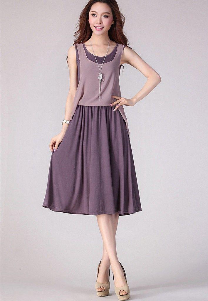 Новый свободного покроя тонкий шифоновое платье 2016 лето женщины мода шифоновое платье о-образным платье шеи майка из двух частей пакет бедра платье