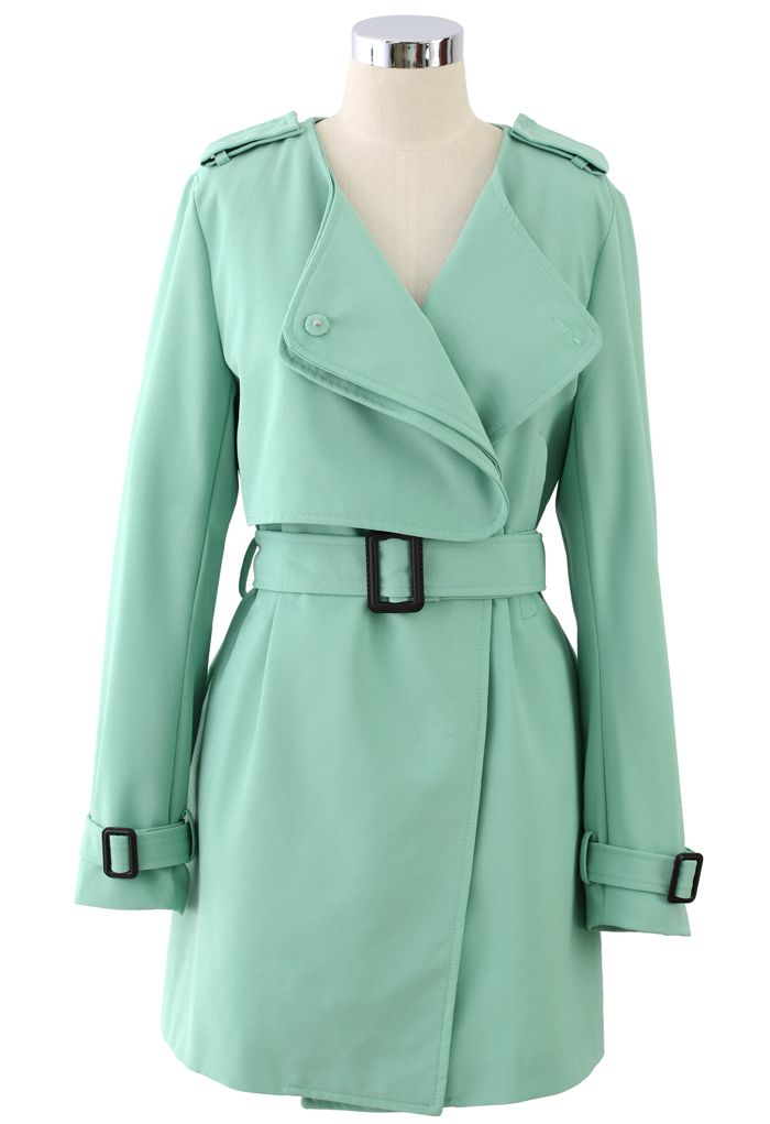 Chiffon Belted Trench Coat in Mint Green - Tops - Retro, Indie and Unique Fashion