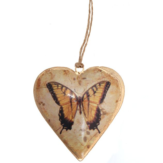 Vintage Sunset Butterfly Hanging Heart Yellow | Hanging Hearts & Tokens | Hearts | Shop by Collection | Wholesale Giftware, Gifts and Interior Decor | RJB Stone Ltd.