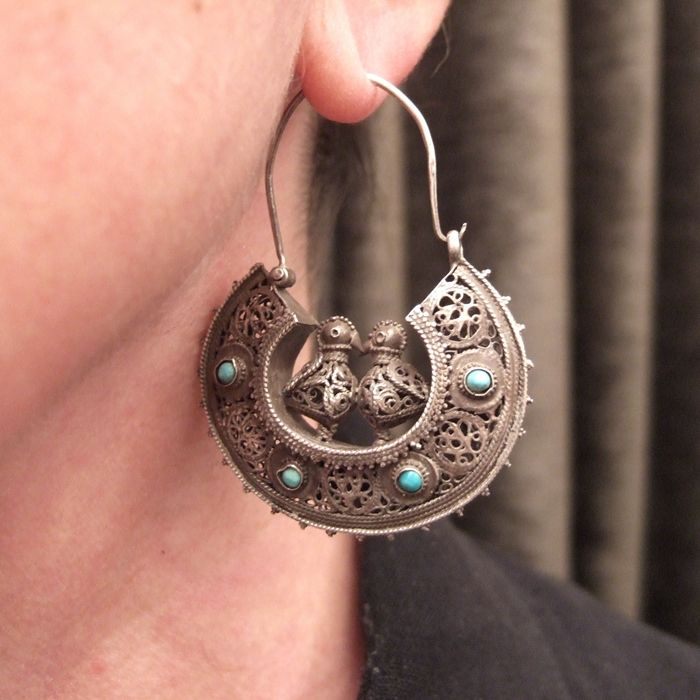 Antique silver and turquoise bird earrings