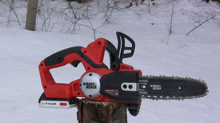 Battery powered electric chainsaw by Black and Decker