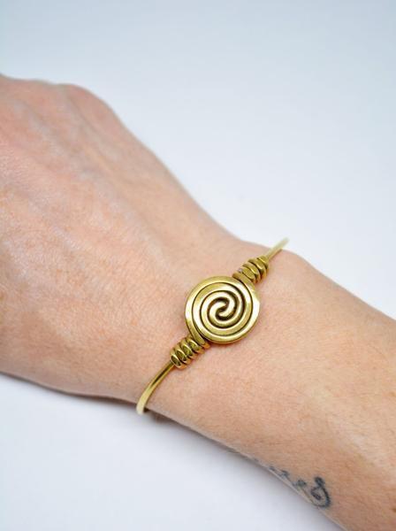 Brass Cuff Wire Spiral Brass Bracelet Spiral Motif Adjustable Bracelet – edocollection