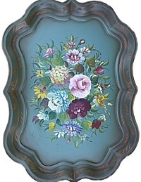 Vintage Aqua Green Blue Chippendale Toleware Tray Austin Roses-tole, hand painted,gilt, pink,red,cream,purple,lavender, yellow,hydrangea,floral,garden, asters,large  c.1940's-1950's