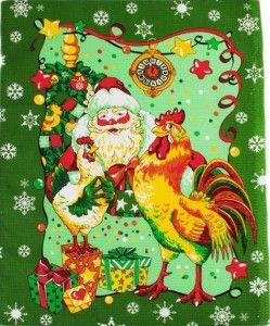"""Полотенце вафельное купонное """"Дед Мороз с петухом"""" (зеленый) Полотенце вафельное купонное Размер: 45 х 60 см Материал: вафельное полотно  Состав: 100% хлопок Плотность ткани: 175 гр/м² Расцветка как на фото!"""