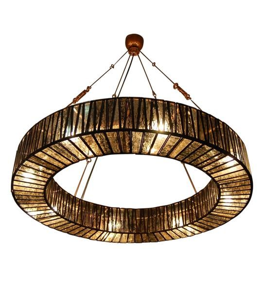 """$1,129 Echoing the luxurious lines of Art Deco, the Chelton features a glamorous mercury mirror glass light with a stunning bronze metal cage that reflects the light and creates endlessly shifting """"glimmer"""".       NB: Please enquire for availability prior to ordering"""