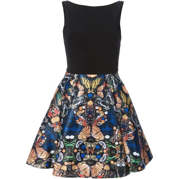 Alice+Olivia Butterfly Printed Bottom Dress ($432) ❤ liked on Polyvore featuring dresses, alice + olivia, butterfly pattern dress, butterfly print dress, monarch butterfly dress, colorful dresses and multi colored dress