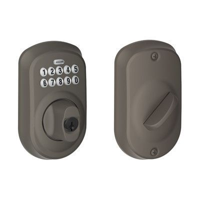 Schlage Keypad Electronic Deadbolt with Plymouth Trim Finish: Oil Rubbed Bronze