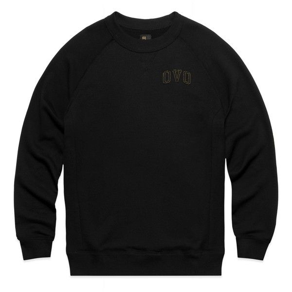 OVO FRENCH TERRY RAGLAN CREWNECK BLACK ($98) ❤ liked on Polyvore featuring tops, t-shirts, crew-neck tee, crewneck t shirt, raglan top, french terry tee and crew neck tee