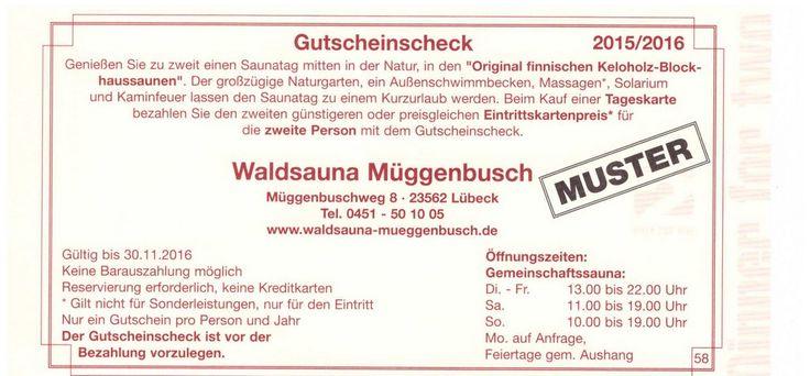 Waldsauna Müggenbusch Lübeck Gutschein